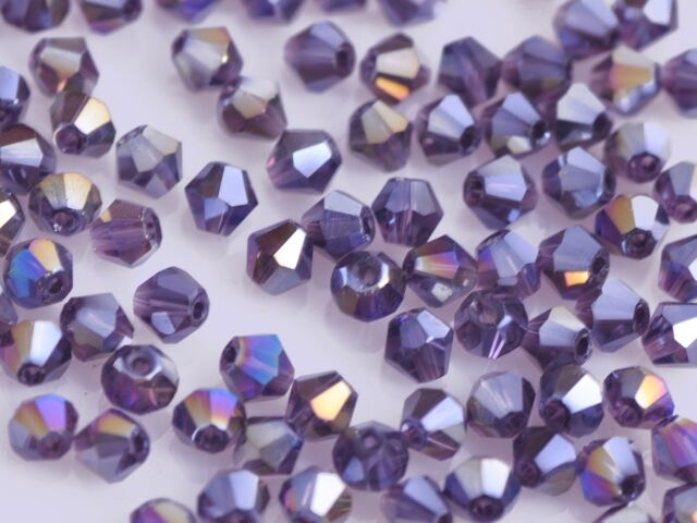 50pcs 6mm Bicone Faceted Crystal Glass Charm Loose Spacer Beads Reddish VioletAB
