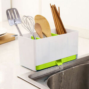 Plastic-Utensils-Racks-Drainer-Holders-Organizer-Kitchen-Sink-Storage-Tool