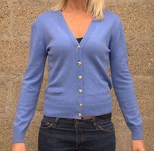 Vintage 80s Escada Blue Wool Cashmere V-Neck Cardigan Sweater S