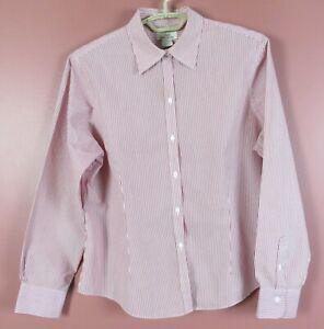 TB09206-346 BROOKS BROTHERS Women's NON IRON Cotton Long Sleeve Blouse Stripe 16