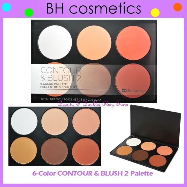 NEW BH Cosmetics 6-Color CONTOUR & BLUSH 2 Highlighter Palette FREE SHIPPING Two