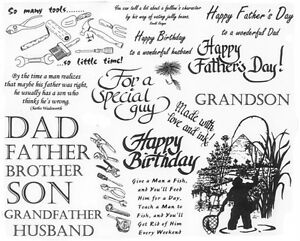 Unmounted Rubber Stamp Sheets Men Father Fishing Quotes Sayings