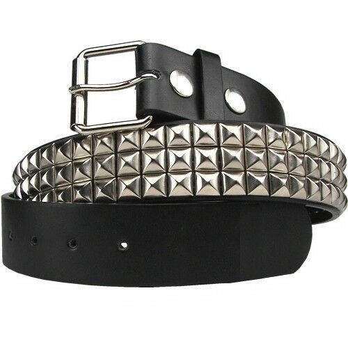 STUDDED PYRAMID BELT MENS WOMENS METAL PUNK EMO GOTH SPIKE SKATE S METAL BUCKLE