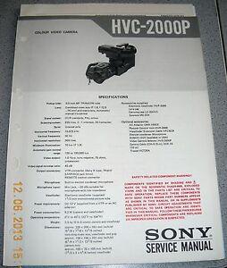 SONY HVC-2000P Color Video Camera Service Manual inkl. div. Werkst. Infos