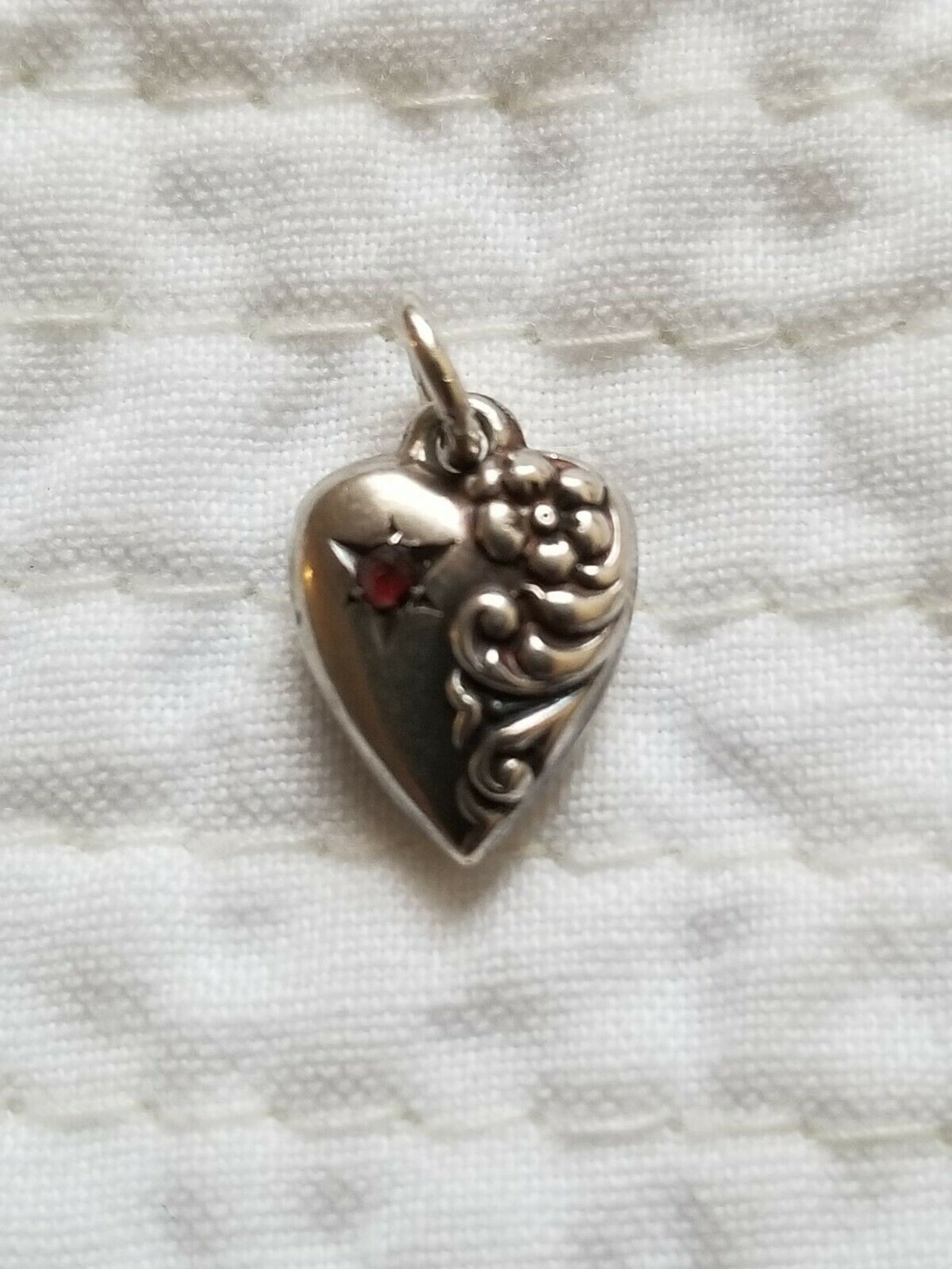 Antique Sterling Silver very tiny Puffy Heart Charm With Turquoise