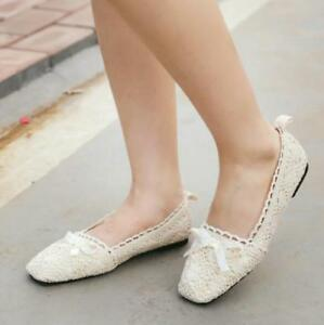 Fashion-Womens-Lace-Crochet-Ballet-Flat-Comfy-Slip-On-Loafers-Ballerina-Shoes