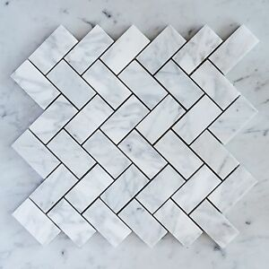 Image Is Loading Carrara Marble Herringbone Medium Mosaic Tiles Sheet