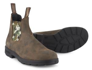 azulndstone 1612 para hombres Cuero Clásico Tirar Chelsea botas al Tobillo Campamento