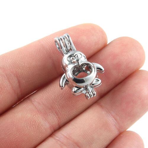 5x Argent 3D Penguin Perle Cage Pendentif À faire soi-même Huile Essentielle Diffuseur Collier Cadeau