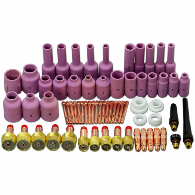 TIG Gas Lens Collet Body Back Cap Kit Fit WP 17 18 26 TIG Welding Torch 51pcs
