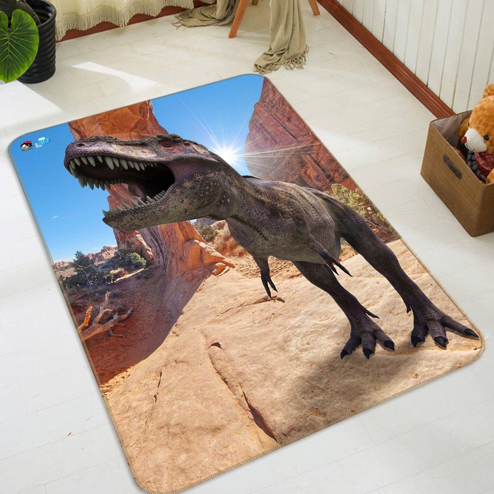 3d 3 dinosauri antiscivolo TAPPETO TAPPETINO BAGAGLIAIO Qualità Tappeto Elegante De