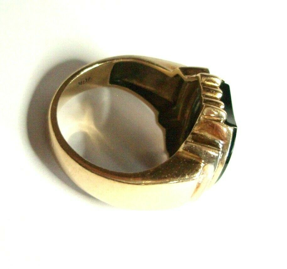 Heavy 8g Unisex 10K 2-Tone Gold Ring Solitaire On… - image 6
