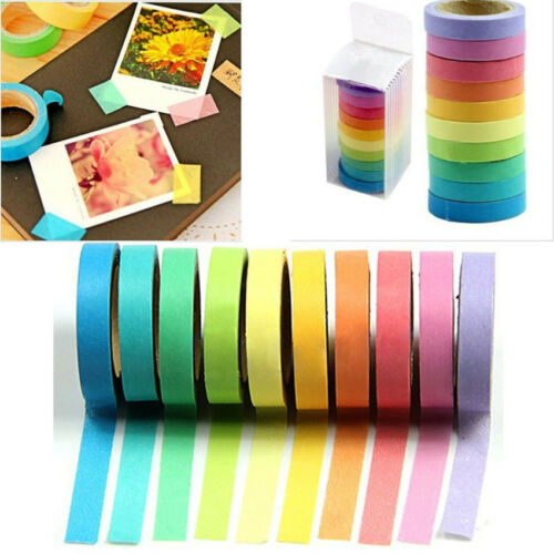 10x Rainbow Washi Sticky Paper Masking Klebeband für dekoratives Scrapbooking