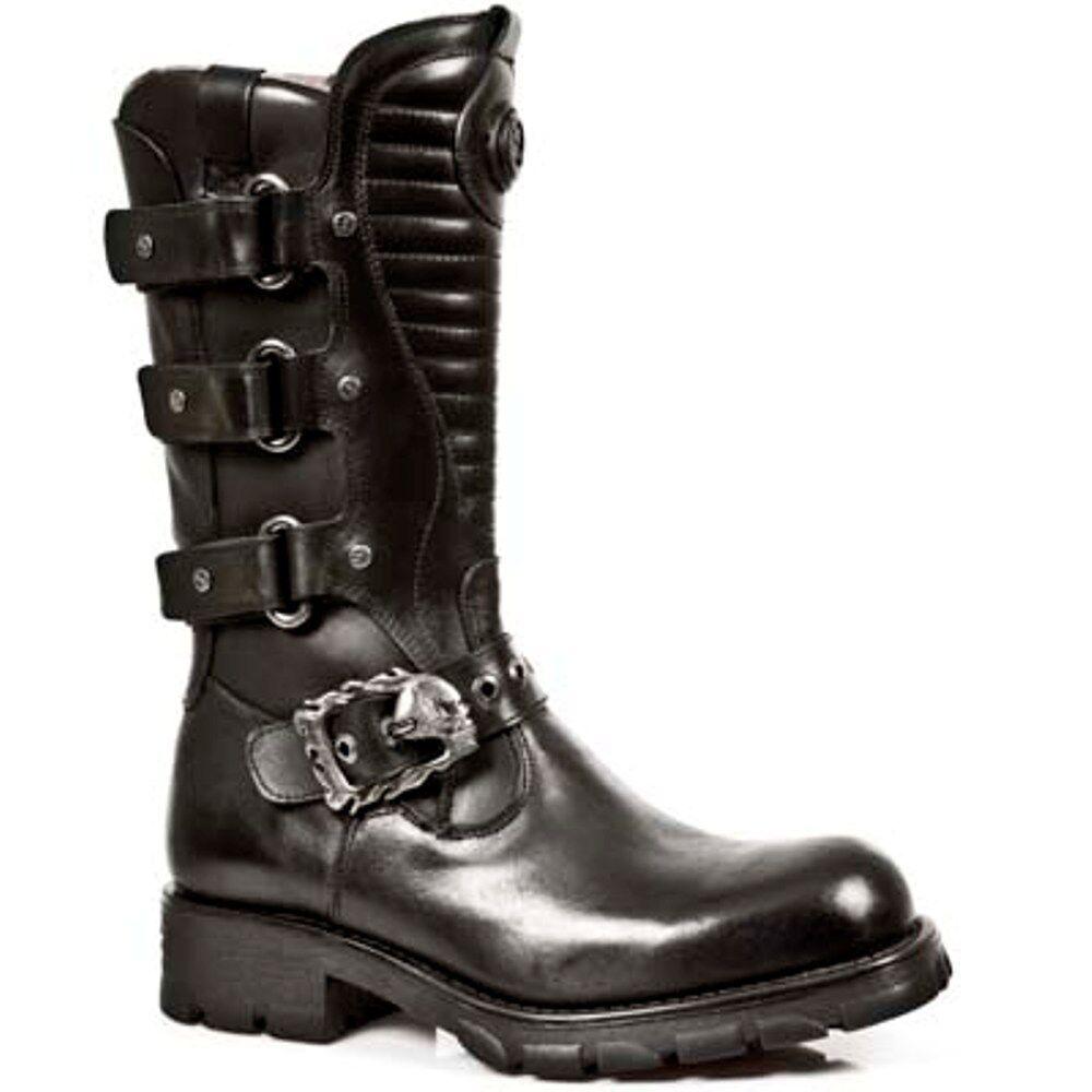 New Rock Boots Unisex Punk Gothic Stiefel - Style 7604 S1 Schwarz