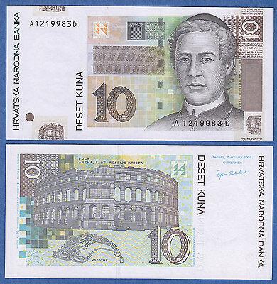 Croatia 10 Kuna p-38a 2001 UNC Banknote