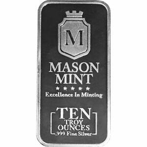 10-oz-Mason-Mint-999-Fine-Silver-Bar-NEW-SEALED