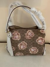 Coach 31699 Charcoal Blue Signature Rose Printed Leather Edie 31 Shoulder Bag
