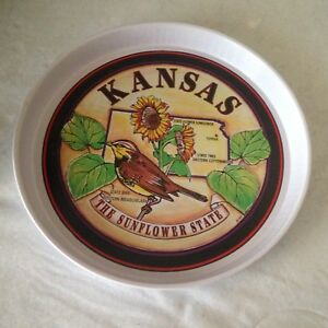 "Vintage Kansas State Souvenir 11"" Tin Metal Serving Plate Tray Collectible"