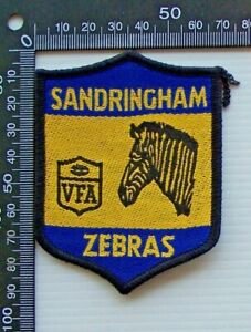 RARE VINTAGE VFA SANDRINGHAM ZEBRAS EMBROIDERED WOVEN CLOTH VIC VFL SEW-ON BADGE