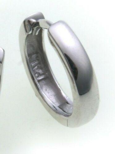 Men/'s Earring Folding Hoop Gold 333 Shiny 14 mm Clips White New Top