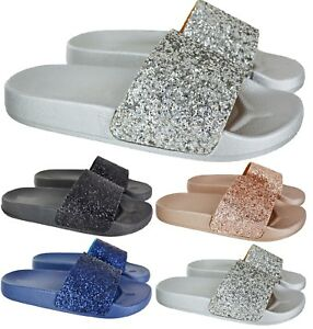 LADIES-WOMENS-COMFY-SLIP-ON-MULE-SUMMER-GLITTER-SLIDERS-FLAT-SLIPPERS-SHOES-SIZE