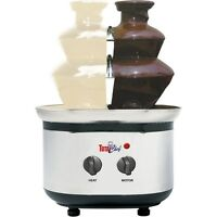 Stainless Steel 3-tier Double Fondue Fountain, Chocolate Caramel Dual Tower Set