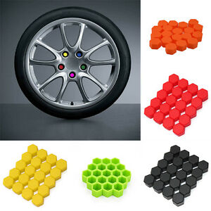 Green Generic Pack of 20 Car Auto Wheel Tire Screw Protect Bolt Cover Nut Cap Lug 17mm Various Colors