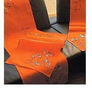 Hossner Gerbera Tischdecke Hohlsaum Deckchen Tischläufer Läufer Stickerei Orange
