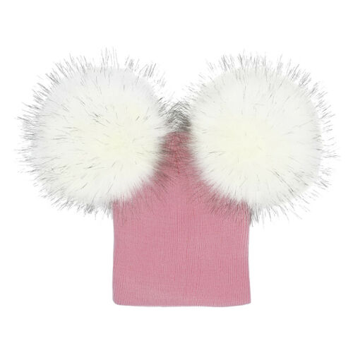 Kids Boy Girl /& Mother Beanie Hat Cap Winter Warm Double Fur Pom Bobble Knit Ski