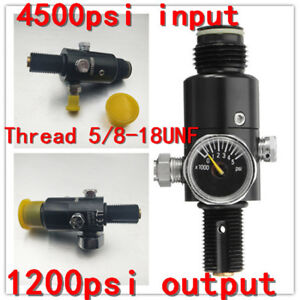 Paintball-Valve-Regulator-4500psi-Air-Tank-Output-1200psi-Thread-5-8-039-039-18UNF