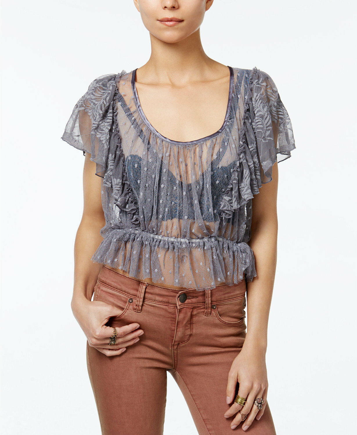 NWT FREE PEOPLE Sweet Surprise Swingy Lace Blouse in Mineral Purple  - L