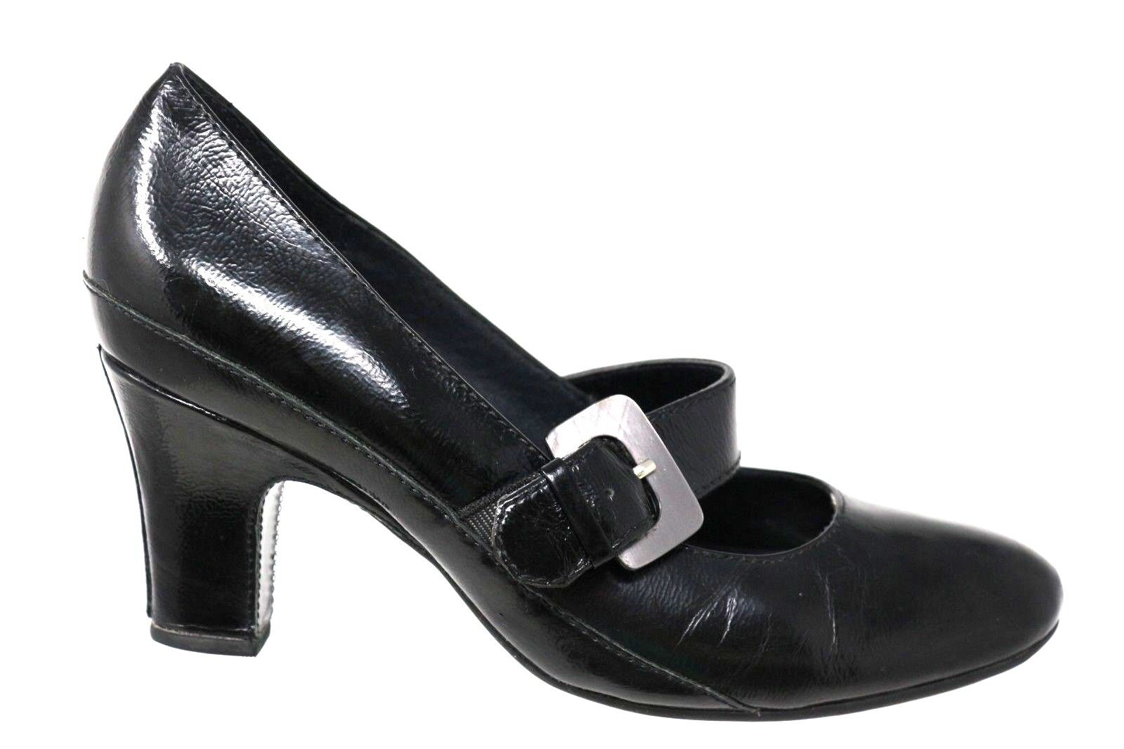 Clarks Artisian Black Leather Mary Jane 3  Heels Pumps shoes Womens Size 8.5M