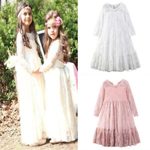 Flower-Girl-Princess-Dress-Kid-Party-Wedding-Pageant-Long-Sleeve-Lace-Tutu-Dress
