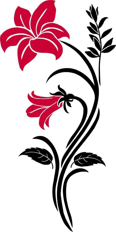 Flor flores lirios tribal pegatinas murales sticker auto espejo