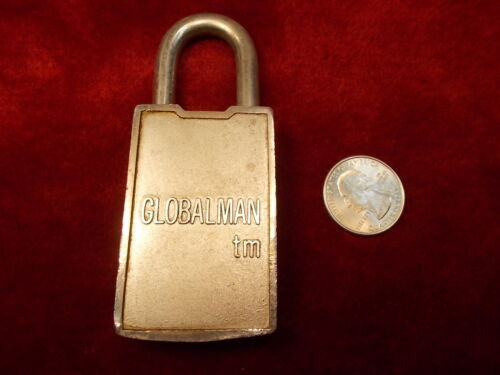 "#25 of 45, NEAT OLD VTG ALUMINUM ""GLOBALMAN"" TM PADLOCK, GOOD CONDITION, NO KEY"