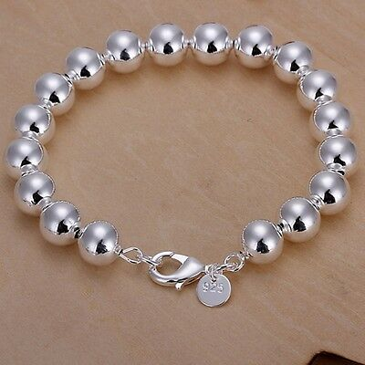 nice new silver plated 10mm Beads chain women fashion Bracelet Jewelry H136