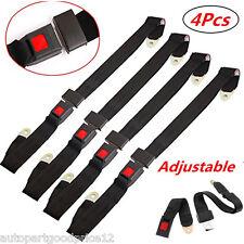 4x 2 Point Retractable Adjustable Auto Car Van Safety Seat Lap Belts Harness Kit
