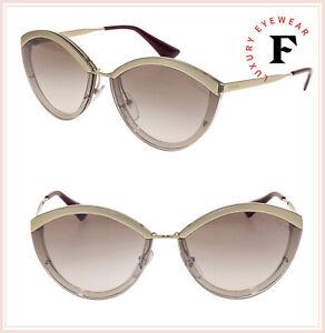 c6c5dc5e1113 PRADA CINEMA Oval Metal Sunglasses 07U Pale Gold Beige Gradient ...