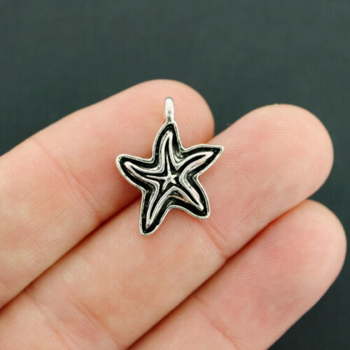 SC6545 10 Starfish Charms Antique Silver Tone