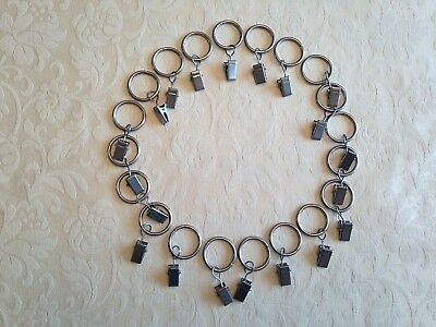 20 X Grey Silver Hanging Curtain Pincer Clip Rings For Net Shear Voile