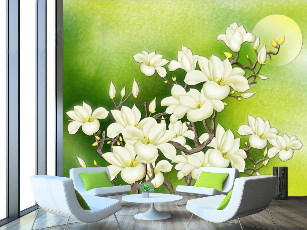 3D Pétales Blancs 3 Photo Papier Peint en Autocollant Murale Plafond Chambre Art