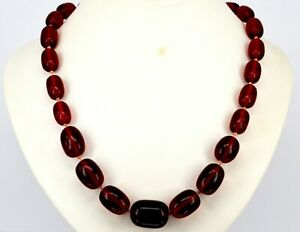 VINTAGE-CHERRY-AMBER-BAKELITE-BEADS-NECKLACE-BARREL-SHAPE-KNOTTED-LONG-79G