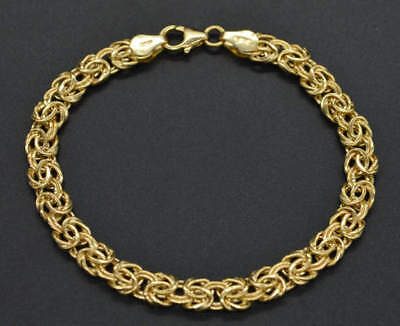 14k Solid Yellow Gold Byzantine Bracelet 71//2/'/' 6mm 5.gr