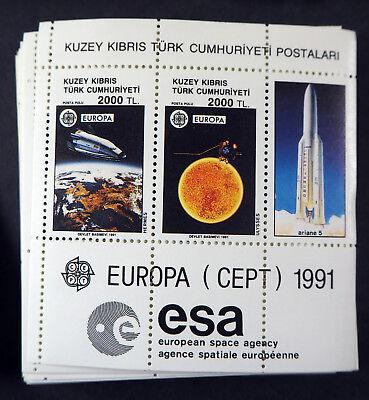 """Ehrlichkeit Türkisch Zypern 1991, Block """"weltraumfahrt"""" Per 200, (me 2400,-)"""