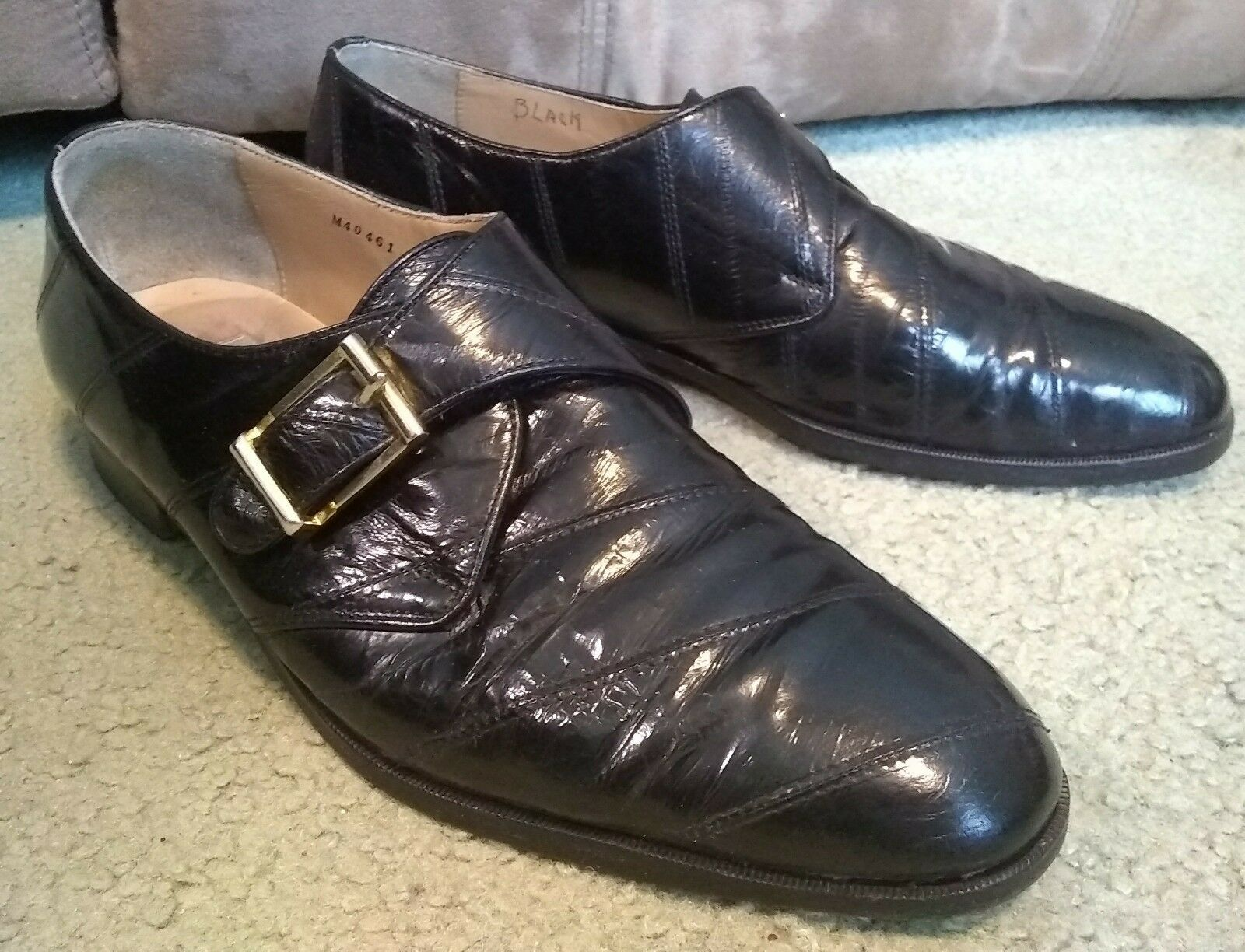 Fabulous Sz 8.5M Black Genuine EEL Skin Carlo Morandi Monk Strap men's shoes