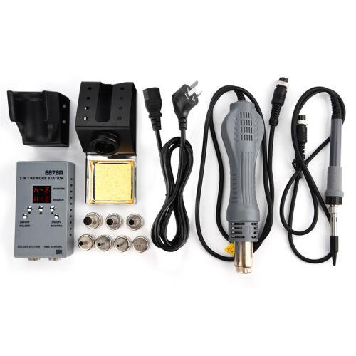 8878D 2 in 1 SMD Rework Station W// Hot Air Gun /& Soldering Iron AC 110V//220V
