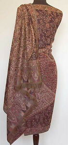 Large-Wool-Jamavar-Paisley-India-Shawl-Dark-Brown-Pasahmna-Style