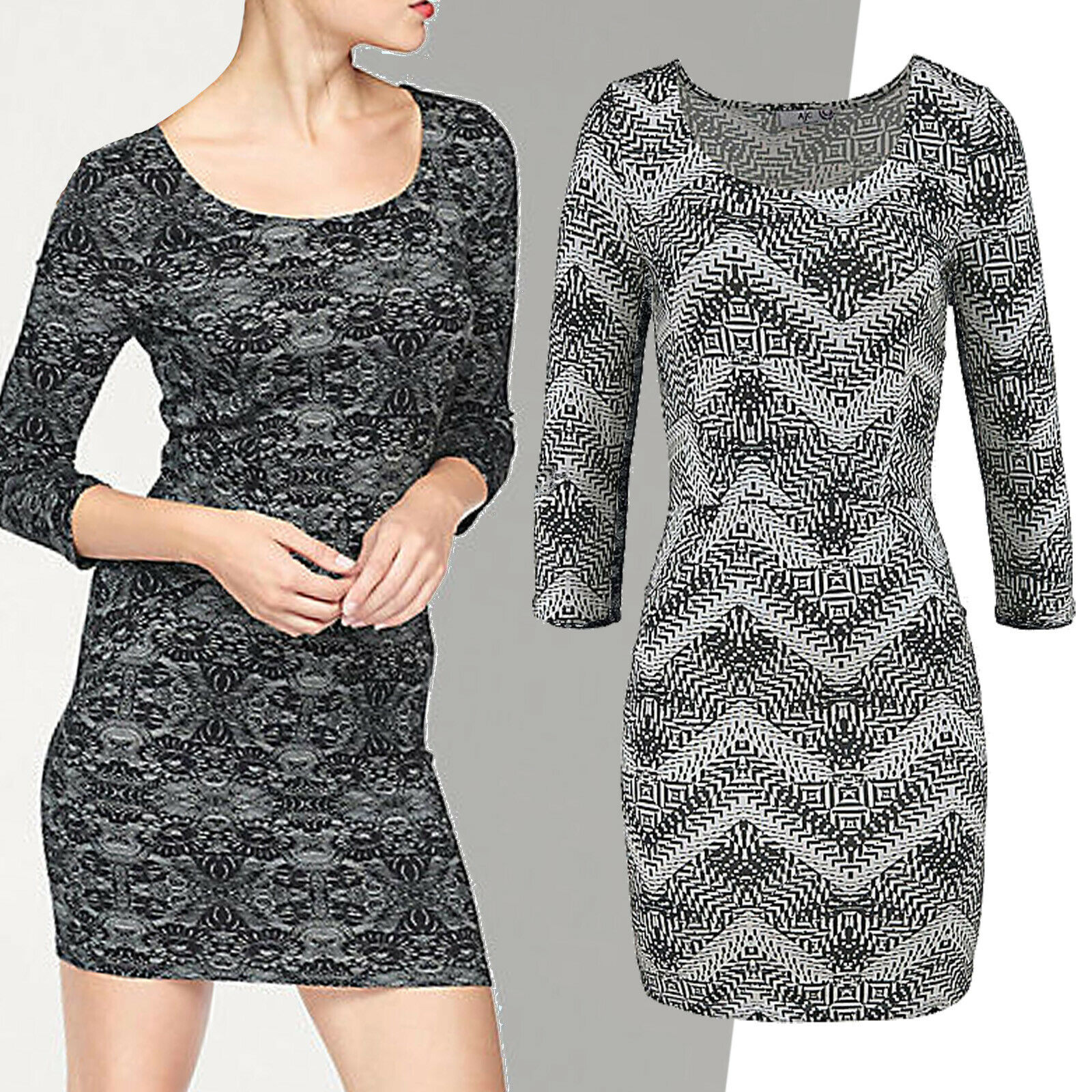 Great Mini Jersey Dress Dress Size 40 L Sexy Stretch Zig-Zag Pattern Black White