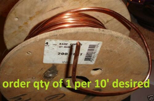 GROUND WIRE 4 AWG GAUGE SOLID BARE COPPER 200A SERVICE 4AWG cut to order per 10/'