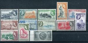 Barbados 235-247 MH Definitive 1953-1957 QE II Dover Fort Sugar cane x27512
